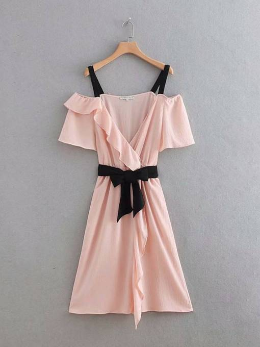 Pink Slash Neck Falbala Bowknot Day Dress