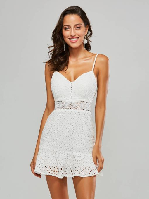 White Strappy Hollow Women's Party Dress