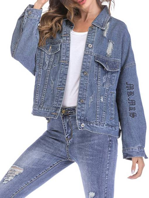 Letter Embroidery Ripped Women's Jean Jacket
