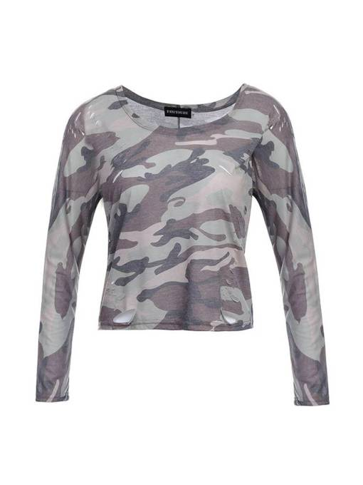 Camo Long Sleeve Round Neck Women's T-Shirt