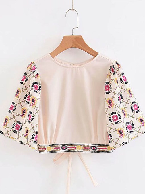 Back Hollow Out Floral Short Sleeve Women's Blouse