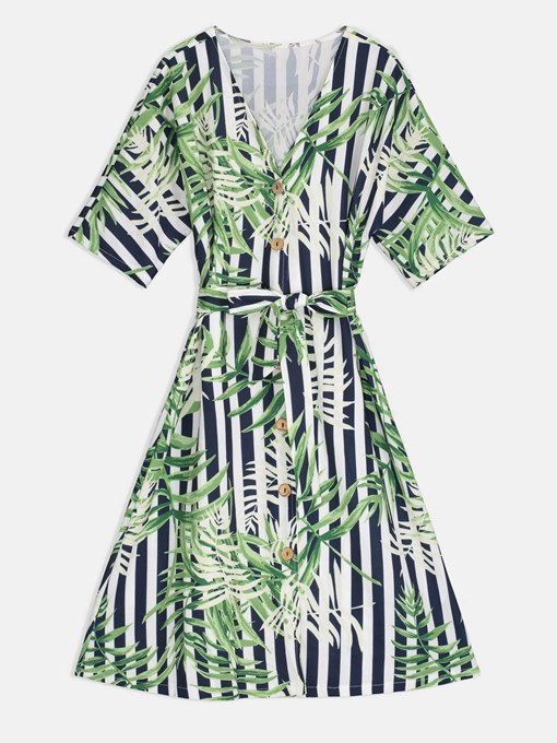 Green Printing Single-Breasted Women's Day Dress
