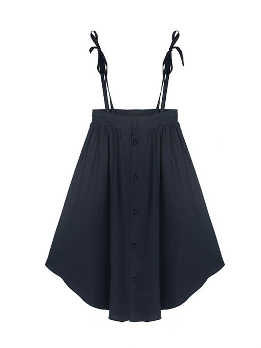 Plain Button Detail Strap Solid Women's Skirt