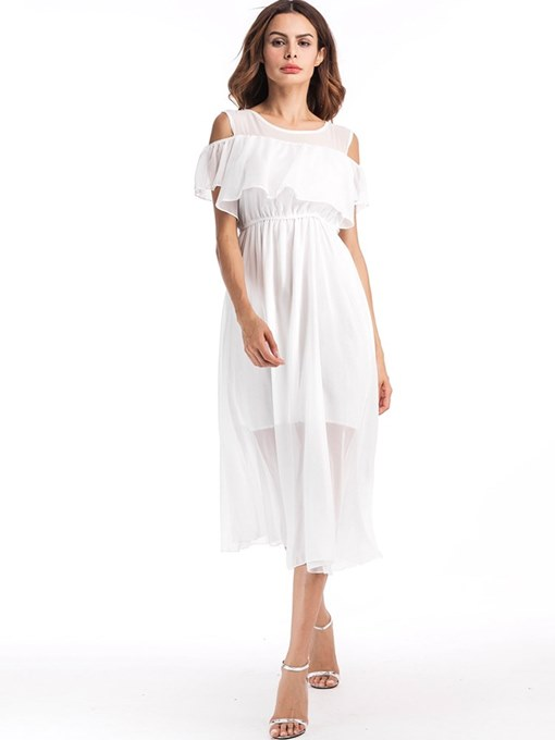 Cold Shoulder Tiered White Women's Day Dress