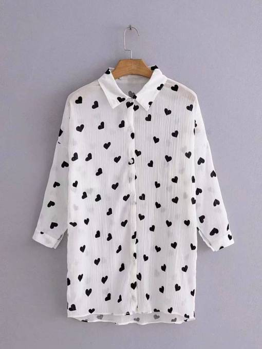 Heart Print Button-Down Women's Casual Shirt