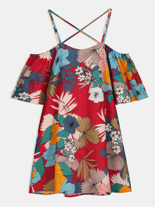 Cross Back Floral Strappy Women's Sexy Dress