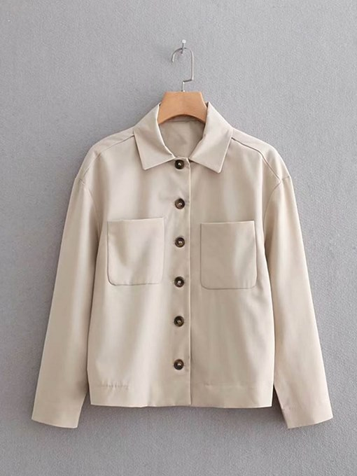 Solid Color Pocket Single-Breasted Women's Shirt
