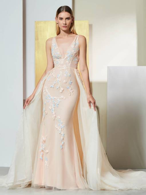 Mermaid Appliques V-Neck Court Train Evening Dress