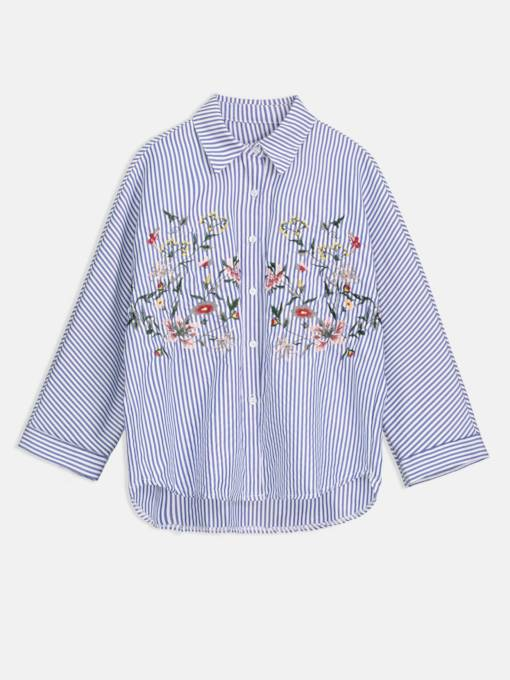 Floral Embroidery Button Down Women's Shirt