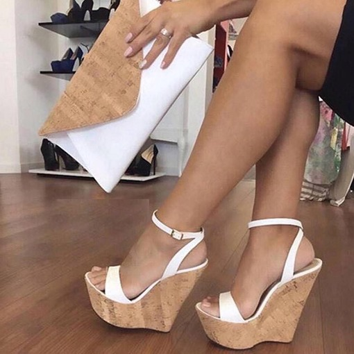 Plain Platform Line-Style Buckle Sexy Wedge Sandals for Women