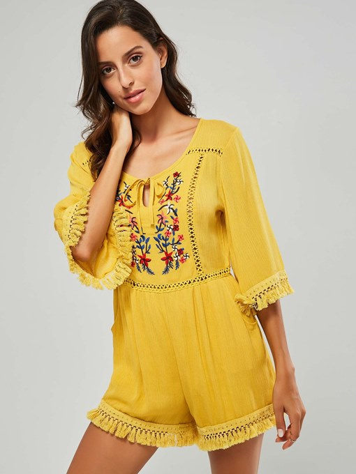 Short Tassel Floral Embroidery Women's Romper