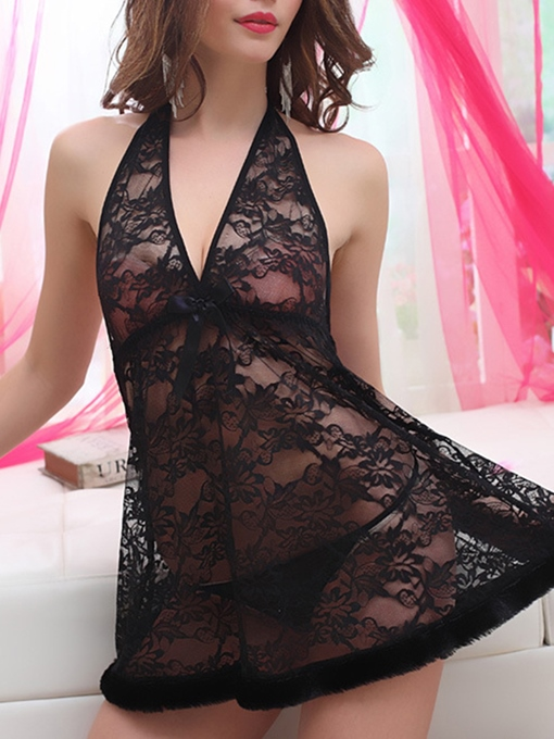 Halter Backless Babydoll See-Through Lace Babydoll