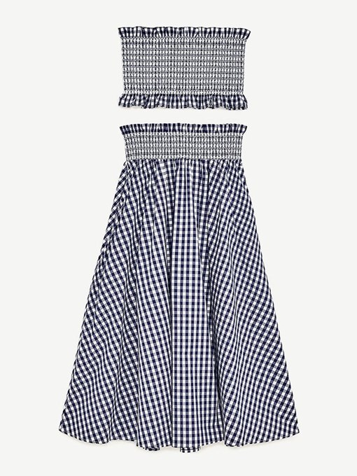 Gingham Elastci Top with Long Skirt Women's Two Piece Set