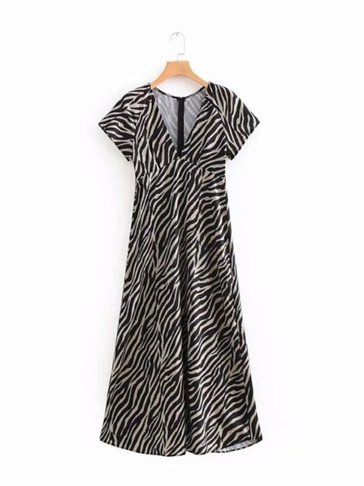 Stripe Prints Short Sleeve Women's Maxi Dress