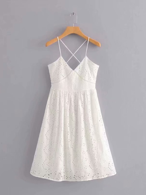 White Strappy Women's Sexy Dress
