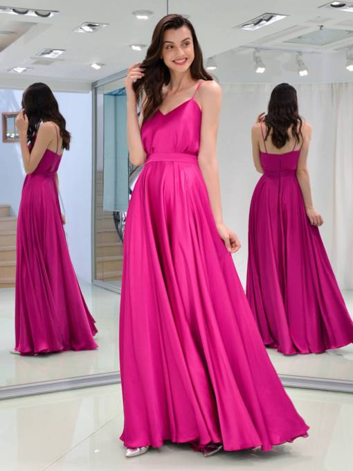 A-Line Spaghetti Straps Sashes Long Evening Dress