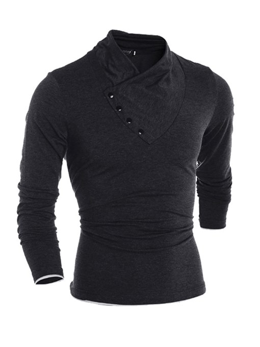 Collarless Solid Color Slim Fit Men's T-Shirt