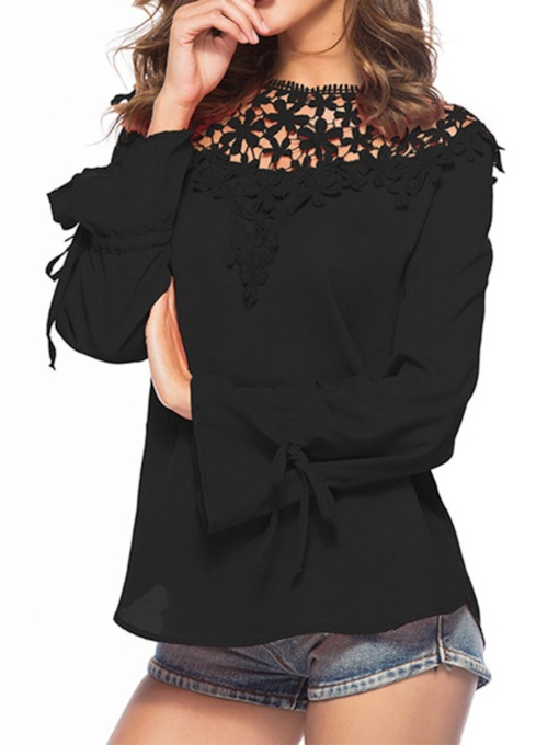 Flare Sleeve Lace Hollow Women's Blouse