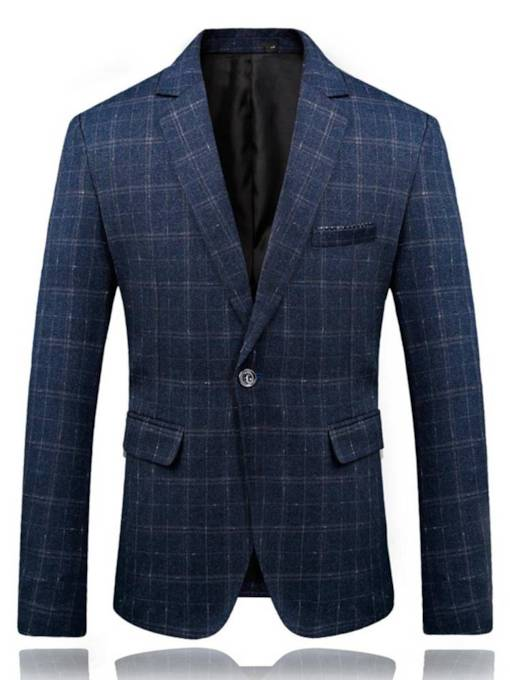 Plaid Notched Collar Slim Men's Blazer
