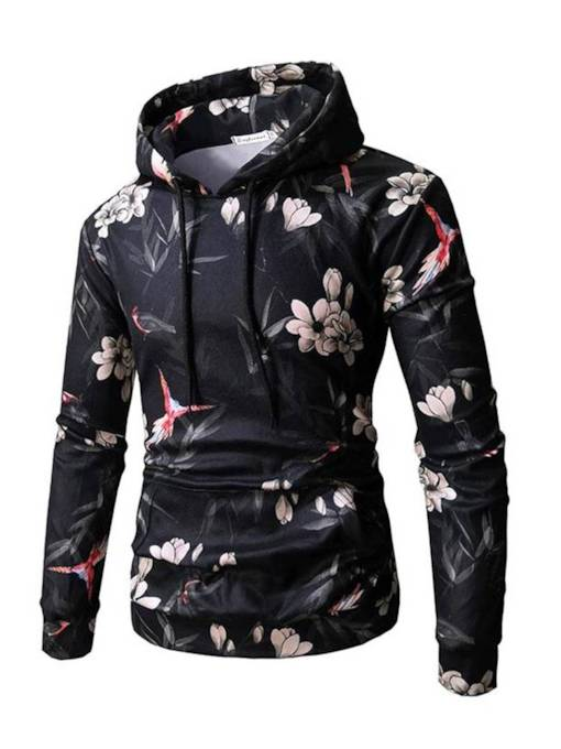 Hooded Bird Flower Print Slim Men's Sweatshirt