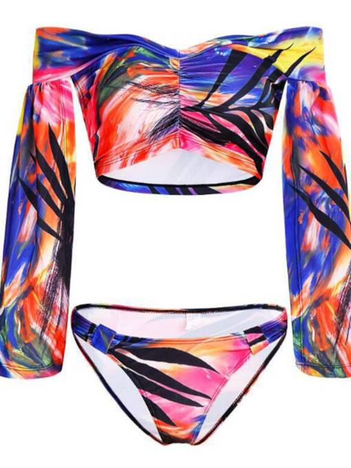Trumpet One-Neck Camouflage Fashion Tankini