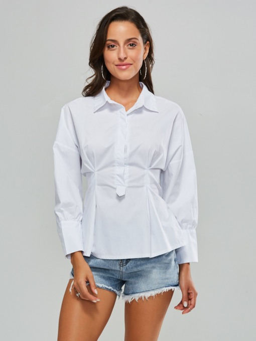 Tight Waist Lantern Sleeve Tie Back Women's Shirt