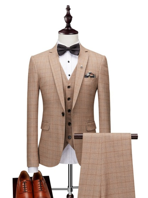 Plaid Three Piece Plain Slim Men's Dress Suit