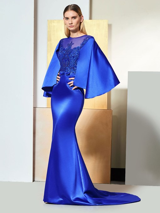 Mermaid Button Scoop Appliques Sashes Evening Dress