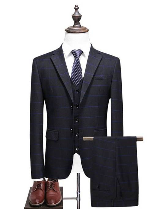 Plaid Classic Three Piece Slim Men's Dress Suit