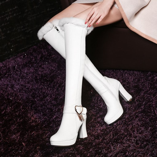 Chunky Heel Side Zipper Buckle Short Floss Women's Knee High Boots