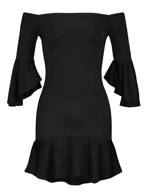 Off Shoulder Bell Sleeve Hem Women's Day Dress