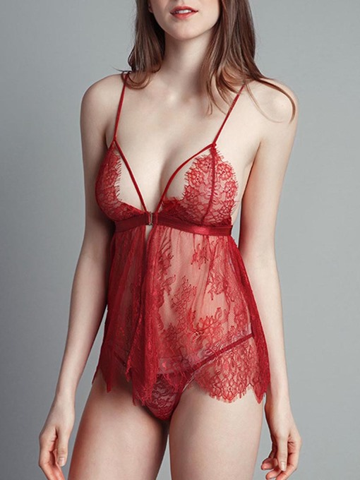 Lace Spaghetti Strap Perspective Rope Suit Babydoll