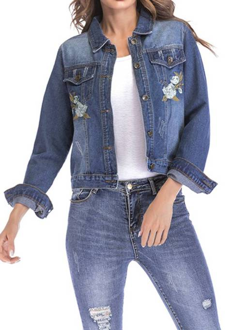 Button Up Floral EmbroideryWomen's Denim Jacket