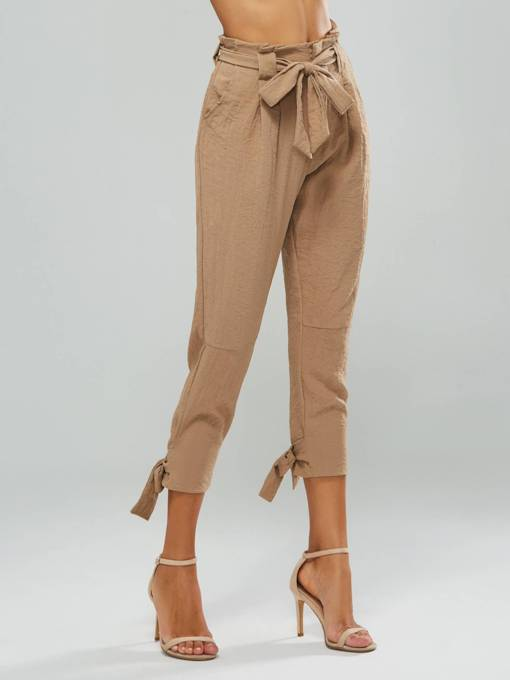 Wild High Waist Solid Color Casual Pants