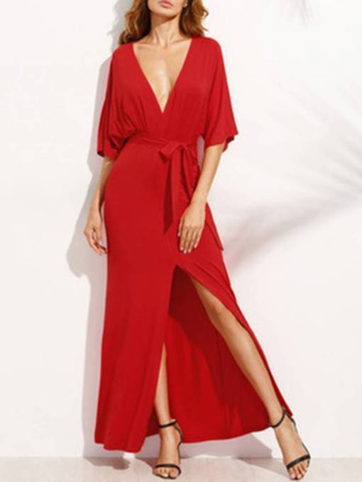 Red Half Sleeve Lace up Women's Maxi Dress