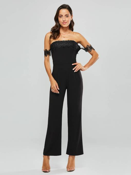 Lace Off Shoulder Chiffon Women's Jumpsuit