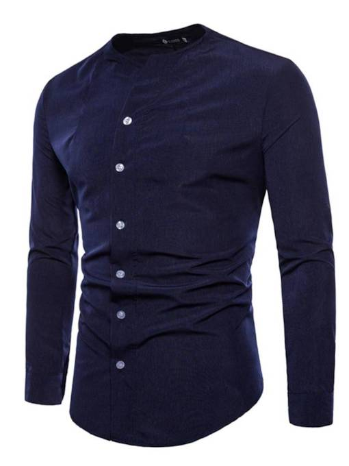 Collarless Inclined Thin Slim Men's Shirt