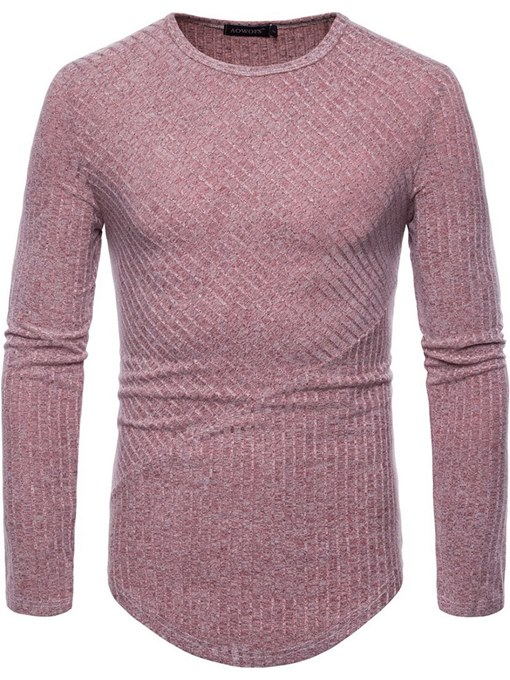 Round Collar Solid Color Plain Men's Knit T-Shirt