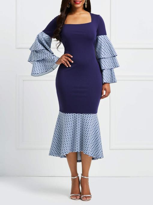 Square Neck Bell Sleeve Elegant Bodycon Dress