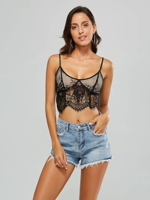 Sexy Lace Patchwork Straps Cropped Women's Tank Top