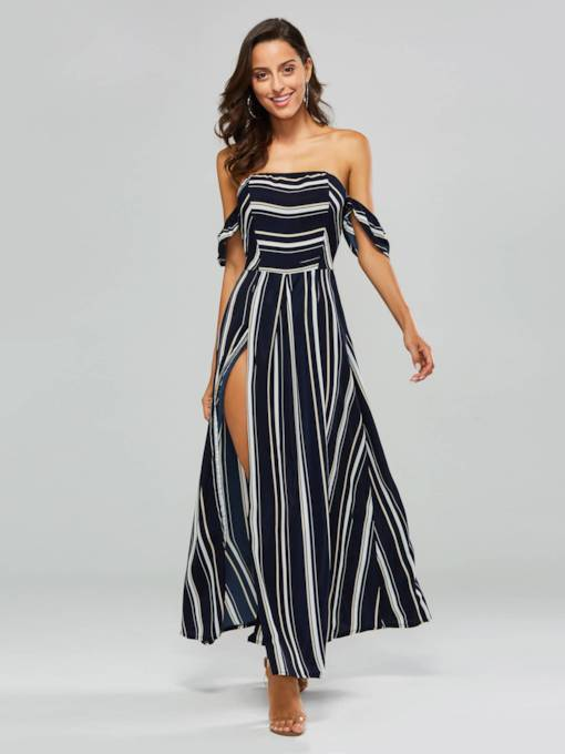Striped Split off Shoulder Women's Maxi Dress
