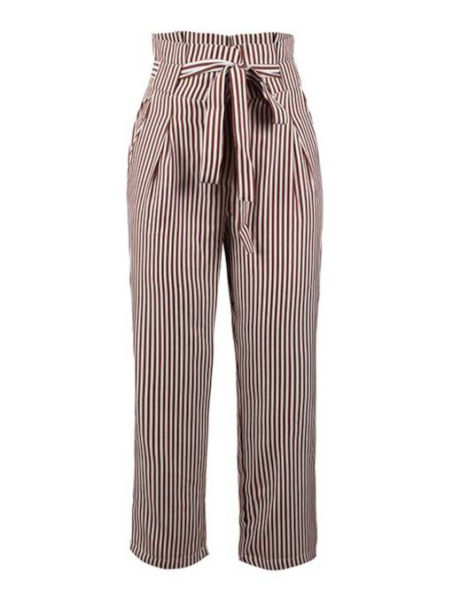 Striped Straight Self Belted Tapered Paper Bag Pants