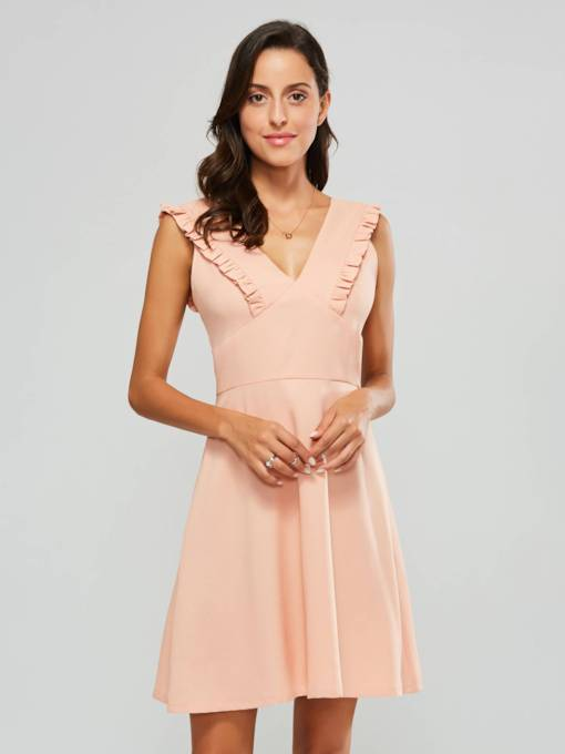 V-Neck Sleeveless Women's Day Dress