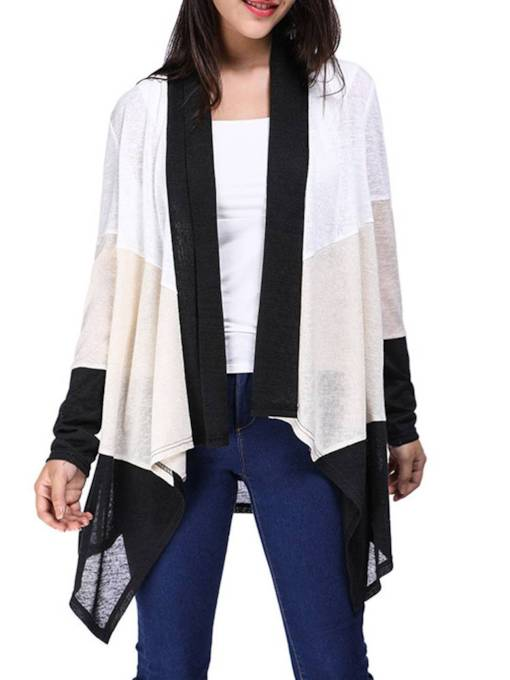 Asymmetric Lightweight Contrast Color Women's Cardigan
