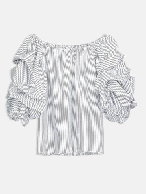 Puff Sleeve Ruched Boat Neck Women's Blouse