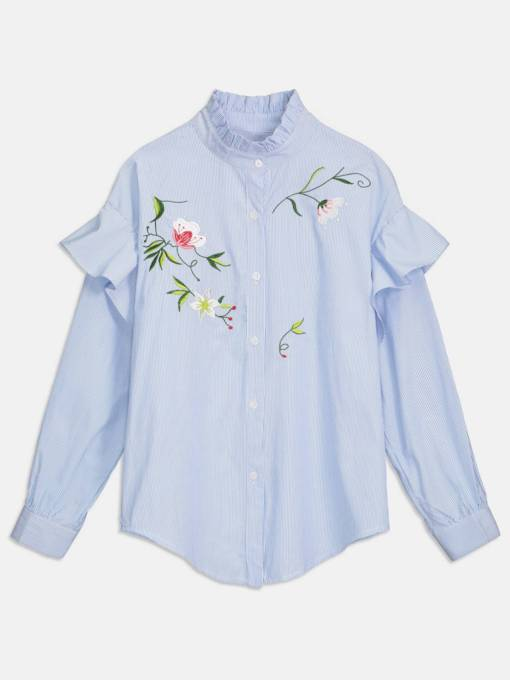 Floral Embroidery Frilled Stripe Women's Shirt