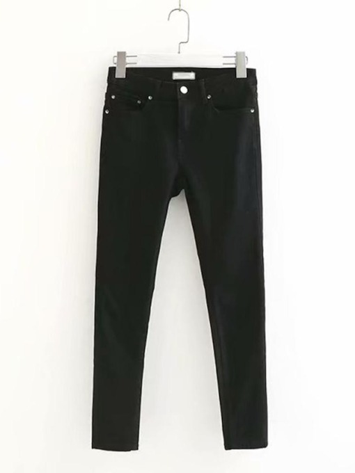 Casual One Button Ankle Length Women's Jeans