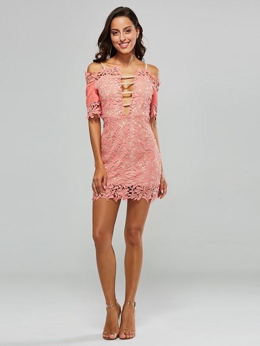 Solid Color Strappy Women's Lace Dress