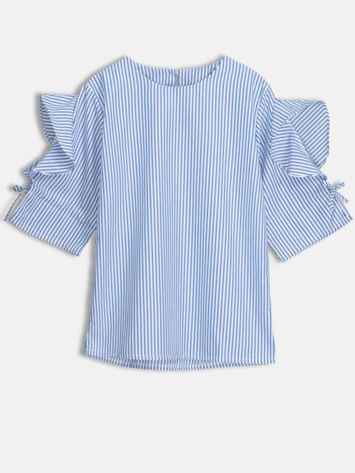 Plain Frill Stripe Short Sleeve Women's Blouse