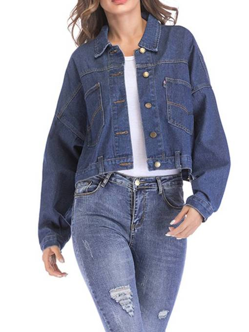 Batwing Sleeve Button Up Women's Jean Jacket